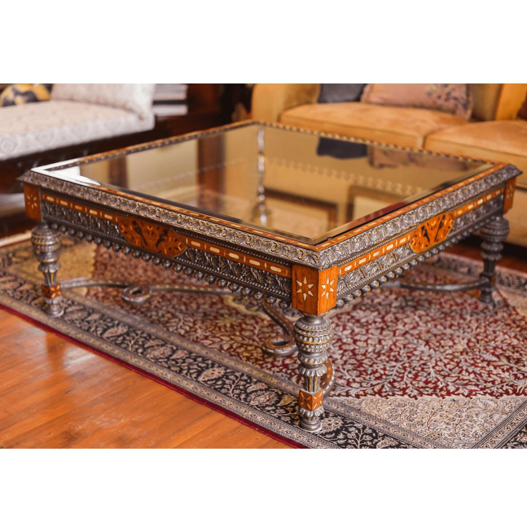 - Swati Carved Coffee Table With Inlay Work - SoUnique.PK