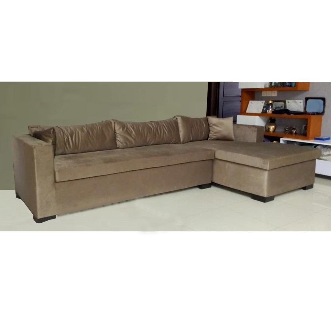 suede l shaped sofa