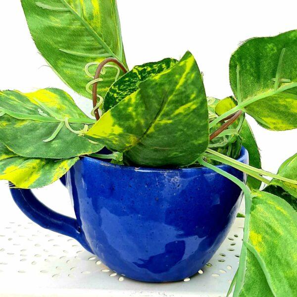 HALArtel Tea Cup Planter (Blue)- SoUnique.PK