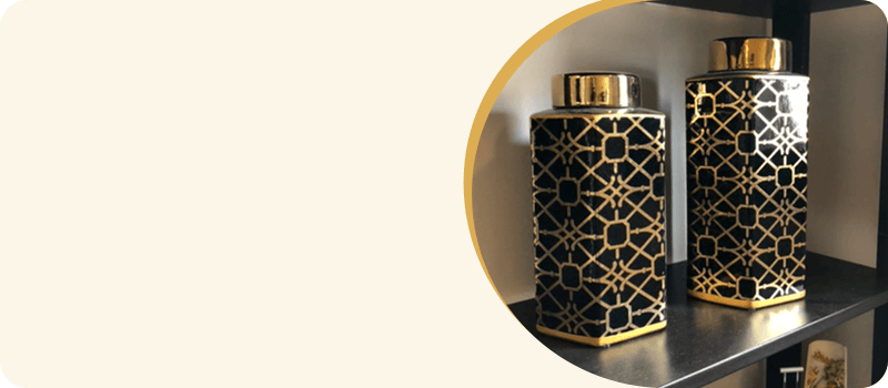 Black & Gold Pair of Urns